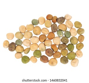 Dry seeds of peas for home vegetable garden etc. Assorted mix of varieties hence variation. Isolated on white background.