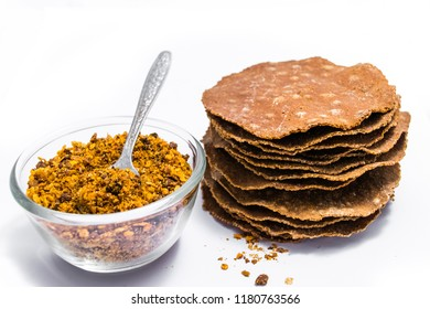 Dry and sheet of Soybean fermented isolated on white background.