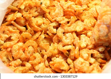 Dry shrimps as ingredients of thai food in closeups.