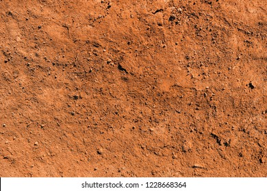 Dry soil texture and background. Red soil background. Abstract ground. Natural abstraction. Clay. Ocher. Red sands