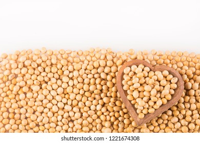 Dry soybeans - Glycine max. Heart shaped bowl