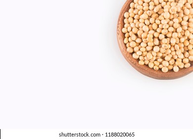 Dry soybeans - Glycine max. White background