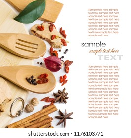 dry spices and fresh herbs on white background