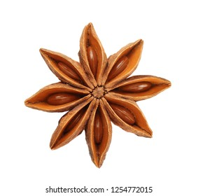Dry star anise fruit  and seeds isolated on white