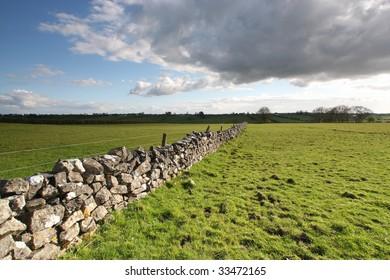 dry stone wall in county roscommon, ireland