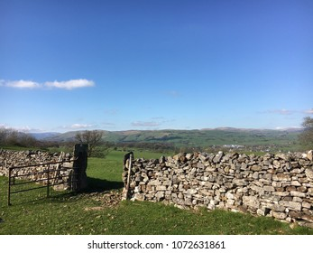 Dry stone wall and gate, Kendal, Cumbria, Lake District, England