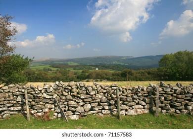 Dry stone wall on Dartmoor in Devon