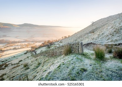Dry stone wall on a frosty morning at Cracken Edge in the High Peak District, England, UK