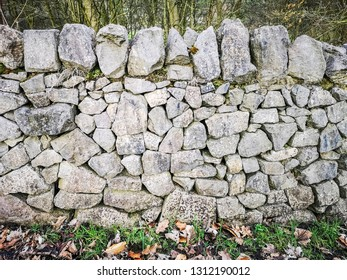 Dry stone wall at Shibden Hall, Halifax, Calderdale, West Yorkshire, UK