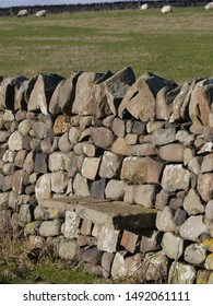 Dry stone wall in the sun