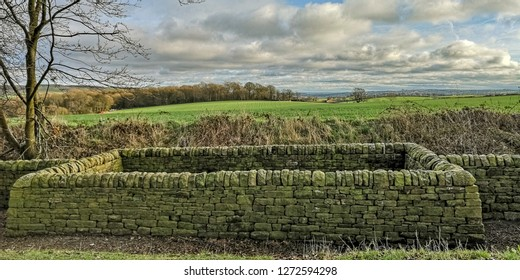 The dry stone walls at the Yorkshire Sculpture Park, Wakefield, Yorkshire, UK