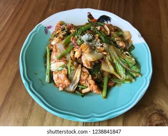 Dry sukiyaki fried vermicelli with mixed vegetables in sukiyaki sauce no meat