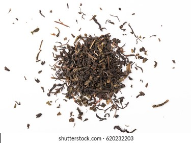 Dry tea leaves  isolated on white background, Top  view.