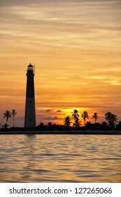 The Dry Tortugas lighthouse on Loggerhead Key during sunset