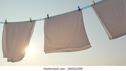 Dry towel under sunset