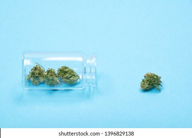 Dry trimmed medical marijuana buds in a small open glass jar and scattered aside on blue  background. Alternative treatment. Medical cannabis. Copy space.