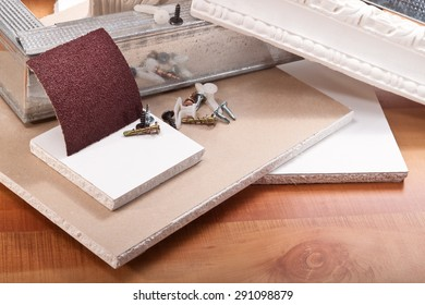 Dry wall, sand paper, the design of sheet metal, screws, ornament from plaster