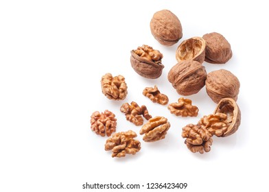 Dry walnuts isolated on a white background