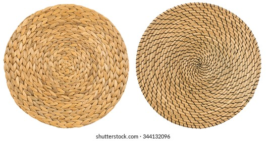Dry Water Hyacinth, Handmade Wicker placemat surface top view texture Isolated on white background