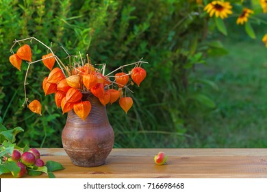 Dry winter cherry in a clay pot and a branch of a wild apple tree on a wooden table on a green blurred background