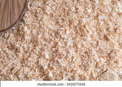 Dry wood shavings background. Wood dust texture. Sawdust pattern closeup. Sawdust floor texture. Top view. Sawdust close up with wooden cut. Wood industry concept. Eco energy design. Space for text