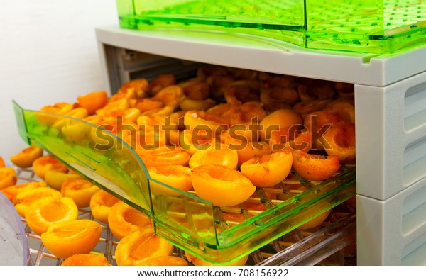 Drying apricots in the drying machine.