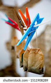 Drying clips laundry hanger with used tea sachets bags