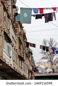 Drying clothes in an old part of Ashgabat