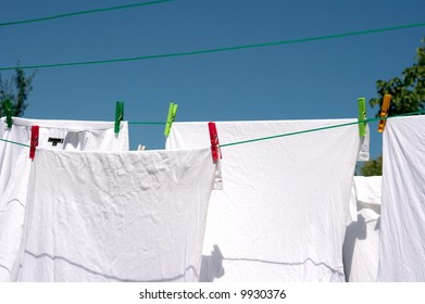 Drying clothes on a rope