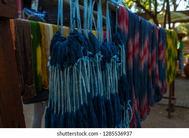 drying colourful silk before woven process,silk dyed with natural colour,silk thread,loincloth.