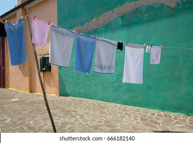 Drying laundry in the yard