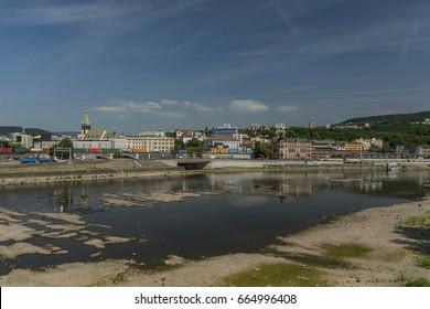 Dryness in river Labe in Usti nad Labem city