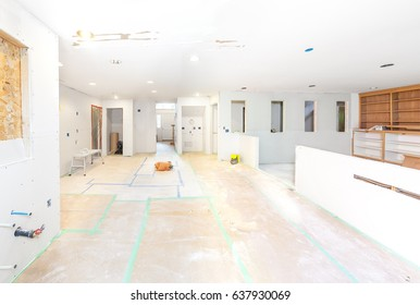 Drywall is hung in kitchen and family room remodeling project