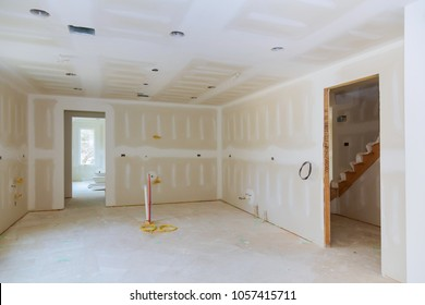 Drywall is hung in kitchen room remodeling project