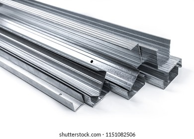 drywall metal profiles isolated on white background