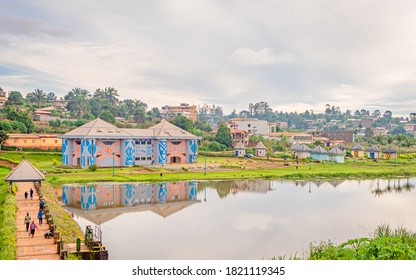 Dschang, West Region/Cameroon - 09/02/2020 : A nice view on the museum of arts and culture of Dschang and the munecipal lake in  Dschang, West region of Cameroon.