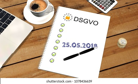 DSGVO checklist next to a laptop PC  -  DSGVO on May  2018 - 3d render