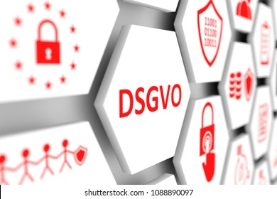 DSGVO concept cell blurred background 3d illustration
