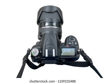 dslr camera holding of the photographer neck isolated over white. subjective view of photographic equipment