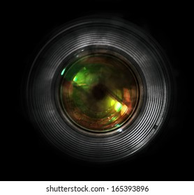 DSLR camera lens, front view, black background.