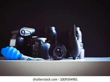 Dslr camera or lense cleaning concept