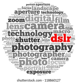 dslr info-text graphics and arrangement concept on white background (word cloud)