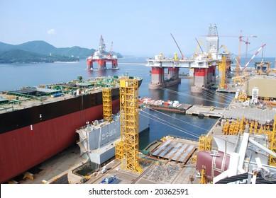 DSME Shipyard;  Geoje Island, Korea