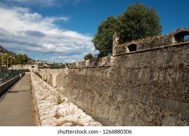 Allée du Colonel Duval, Villefranche-sur-Mer, France. Villefranche-sur-Mer is a commune in the Alpes-Maritimes department in the Provence-Alpes-Côte d'Azur region on the French Riviera.
