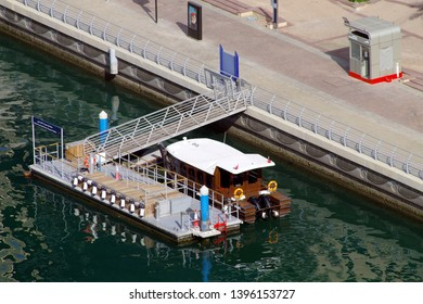 Duabi, UAE, 10 May 2019. RTA ferry stop where citizens and tourists can cross the canal using a small ferry. Unique mean to reduce the traffic on the congested roads.