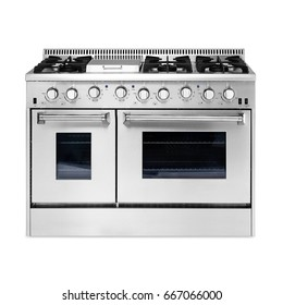 Dual Gas Range Cooker with Warming Drawer Isolated on White Background. Steam Fuel Range with a Large-Capacity Convection Oven and Six-Burner Cooktop. Stainless Steel Gas Stove. Five Burner Gas Hob