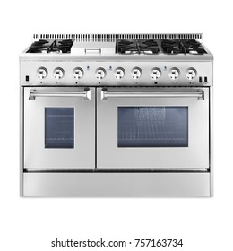Dual Gas Range Cooker with Warming Drawer Isolated on White Background. Steam Fuel Range with a Large-Capacity Convection Oven and Six-Burner Cooktop. Front View of Stainless Steel Gas Stove. Six Burn