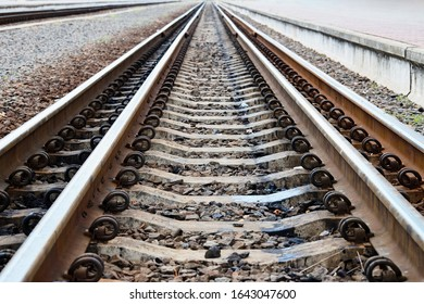 Dual gauge or mixed-gauge tracks example allows passage of trains of two different track gauges narrow-gauge standard-gauge railway and broad-gauge railway with freight wagon, carriage