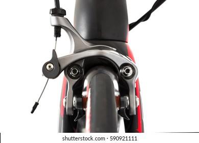 Dual pivot brake caliper of a professional carbon road bike.