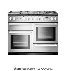 Dual Range Cooker with Warming Drawer Isolated on White. Front View of Stainless Steel Gas Stove. Six Burner Gas Hob. Steam Fuel Range with a Six Burner Cooktop and Large Capacity Convection Oven